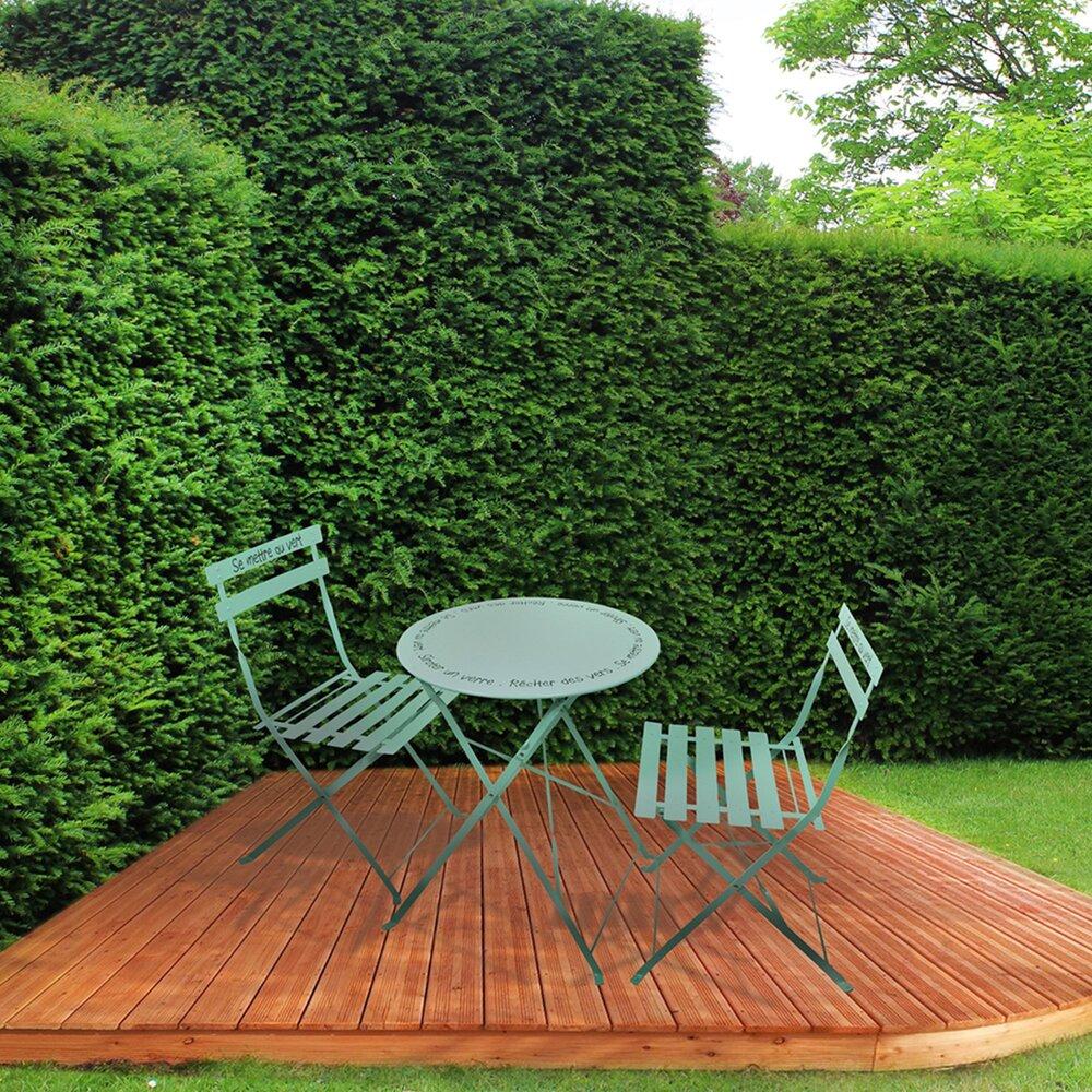 Meuble de jardin - Ensemble table + 2 chaises de jardin en métal vert clair - YUTAN photo 1