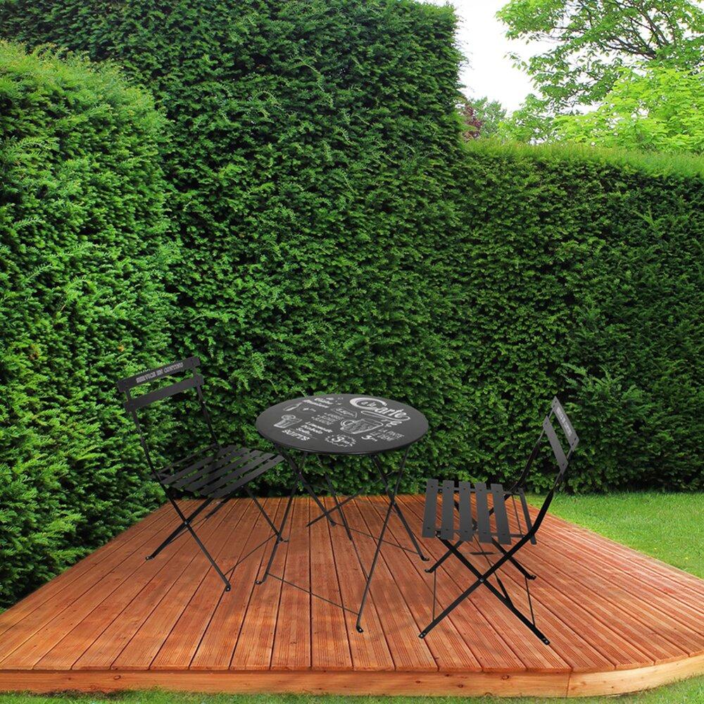 Meuble de jardin - Ensemble table + 2 chaises de jardin en métal noir - YUTAN photo 1