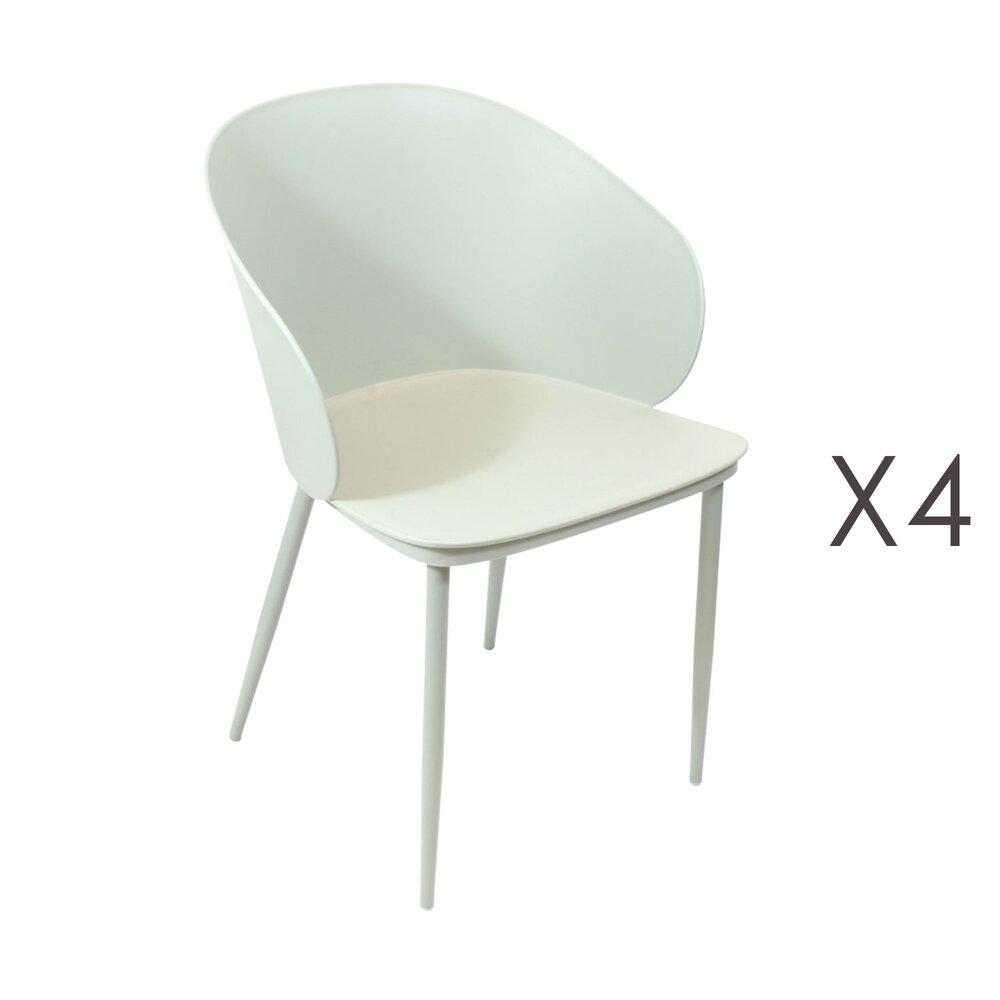 Meuble de jardin - Lot de 4 fauteuils 55x55x80 cm en PU et métal vert clair - RONNY photo 1