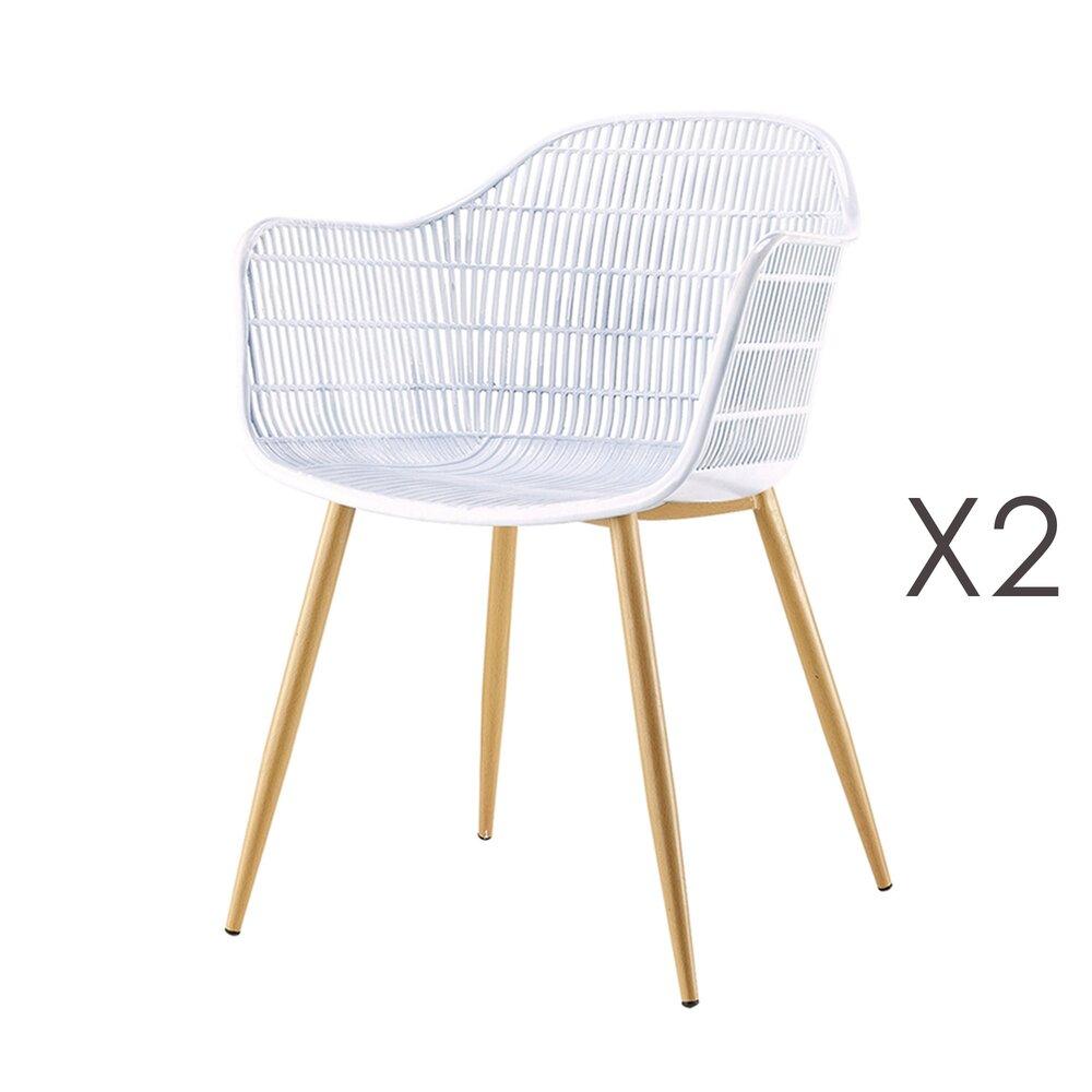 Meuble de jardin - Lot de 2 fauteuils 62x55x85 cm en PU et métal blanc photo 1