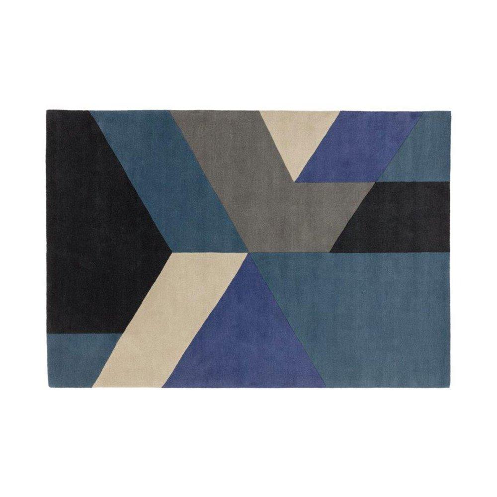 tapis 120x170 cm de style contemporain en laine bleu nedle