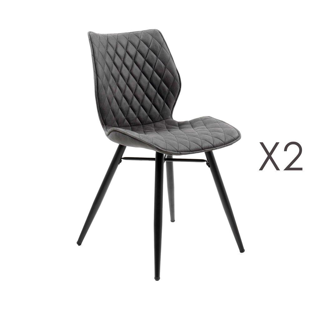 Chaise - Lot de 2 chaises repas en tissu gris foncé - LAURA photo 1