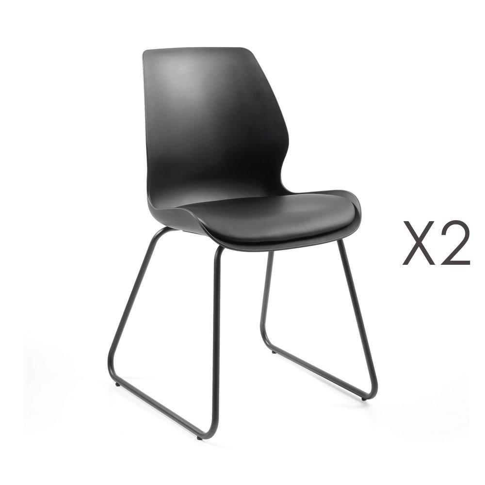 Chaise - Lot de 2 chaises repas noire et assise noire - LUIGI photo 1