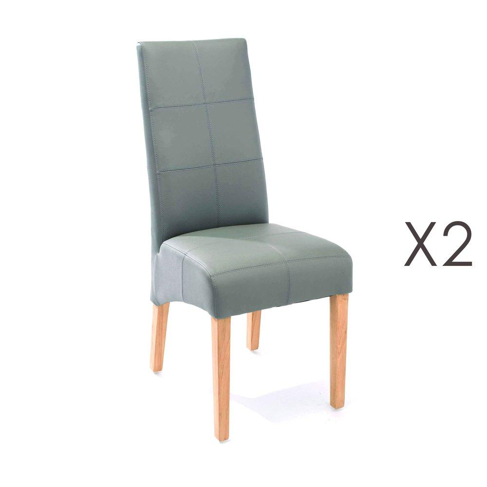 Chaise - Lot de 2 chaises de repas 44x63x103 cm gris - LUKE photo 1