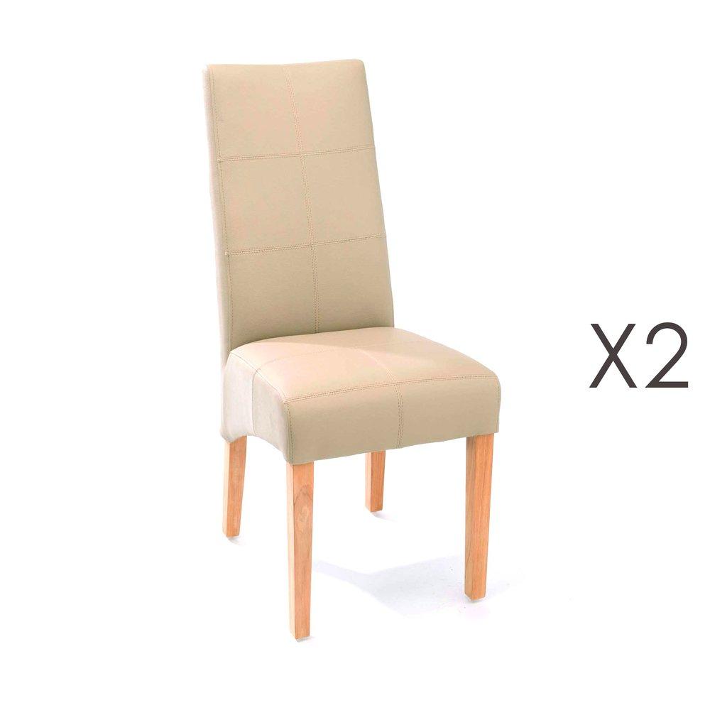 Chaise - Lot de 2 chaises de repas 44x63x103 cm beige - LUKE photo 1
