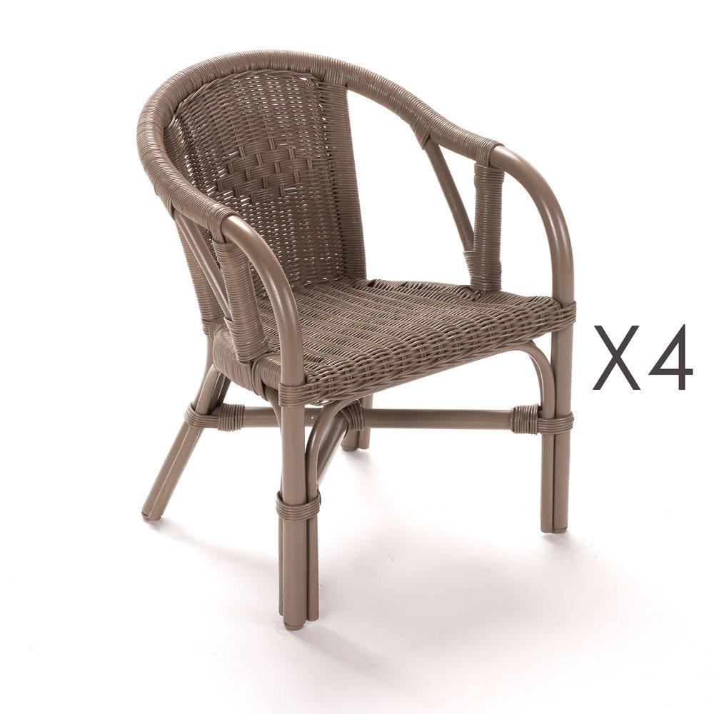 Fauteuil - Lot de 4 fauteuils enfant en rotin taupe - STARK photo 1