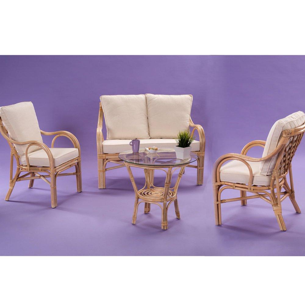 Canapé - Ensemble canapé + 2 fauteuils + table basse en rotin naturel - SAIGON photo 1