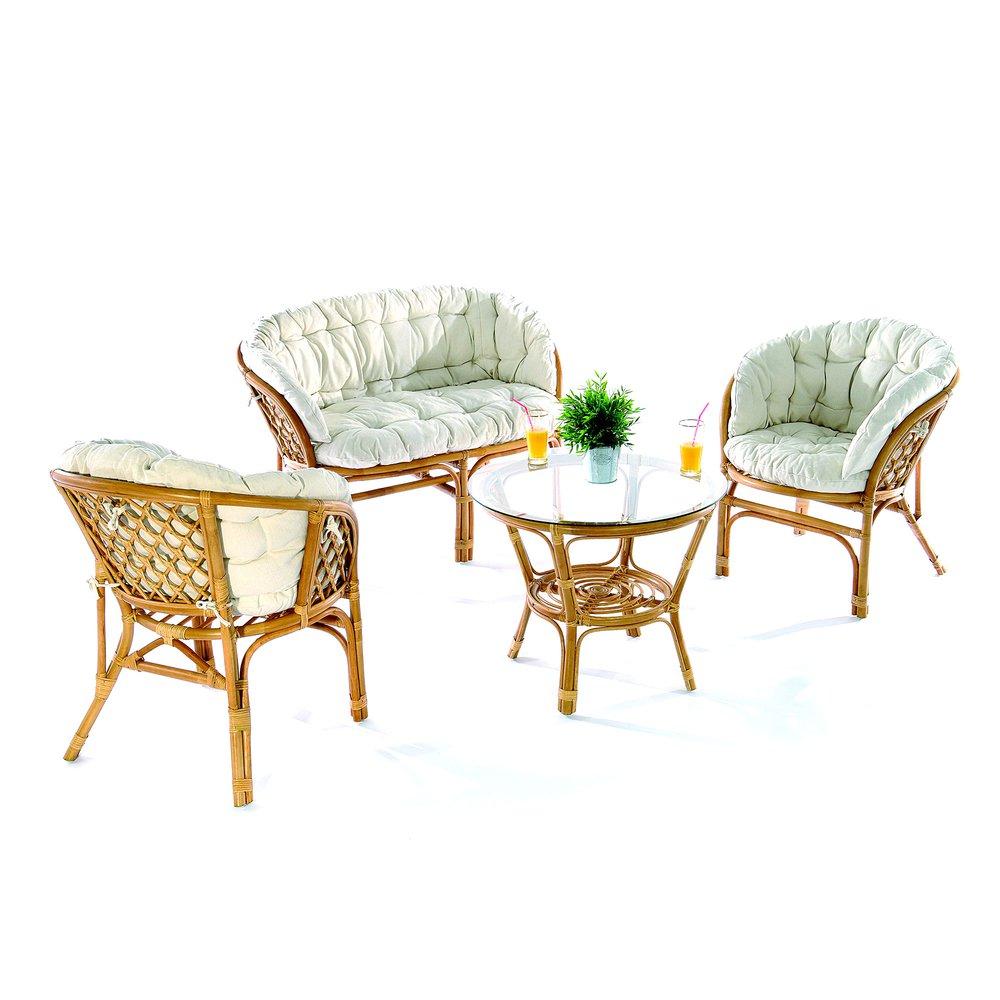 Canapé - Ensemble canapé + 2 fauteuils + table basse en rotin naturel photo 1