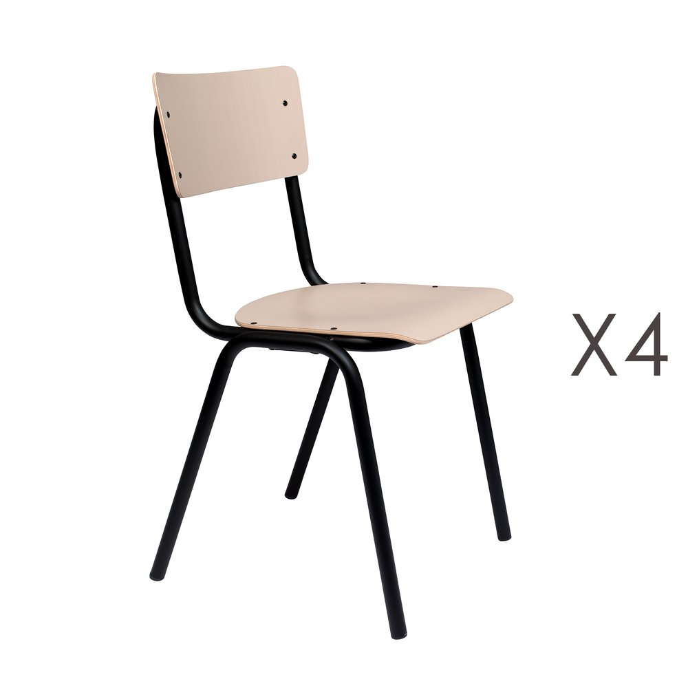 Chaise - Lot de 4 chaises écolier beige - BACK TO SCHOOL photo 1
