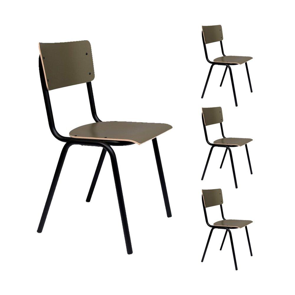 Chaise - Lot de 4 chaises écolier olive - BACK TO SCHOOL photo 1