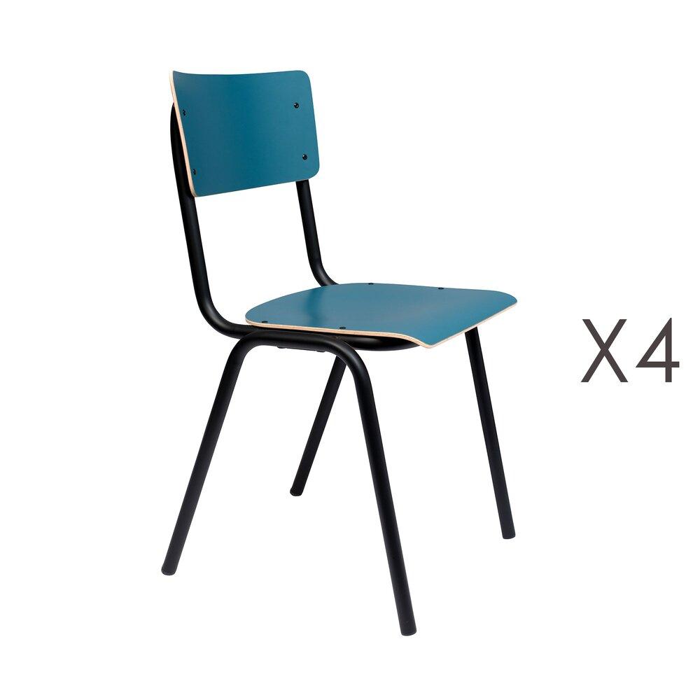 Chaise - Lot de 4 chaises écolier bleu - BACK TO SCHOOL photo 1