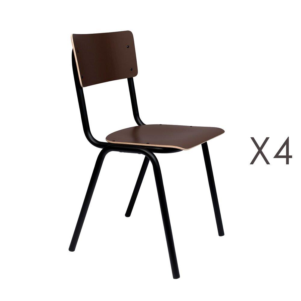 Chaise - Lot de 4 chaises écolier marron - BACK TO SCHOOL photo 1
