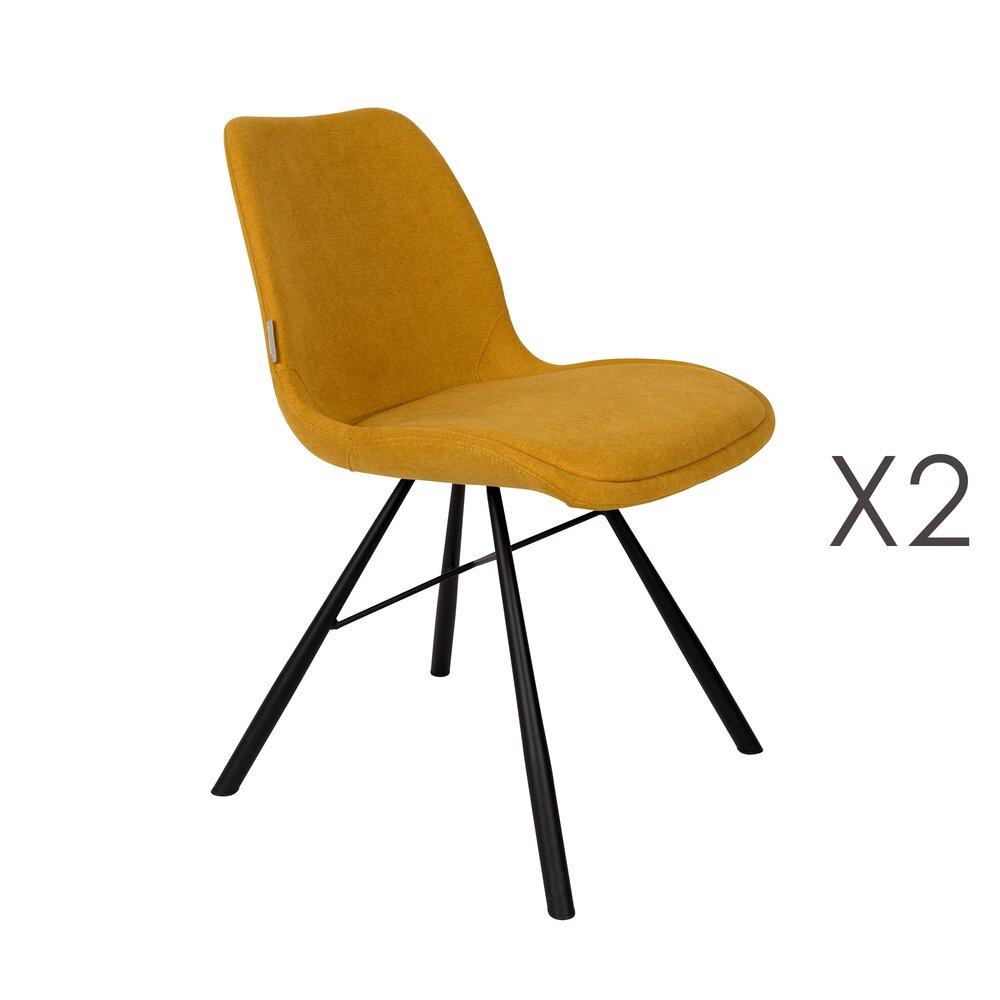 Lot de 6 chaises repas en tissu moutarde - BRENT
