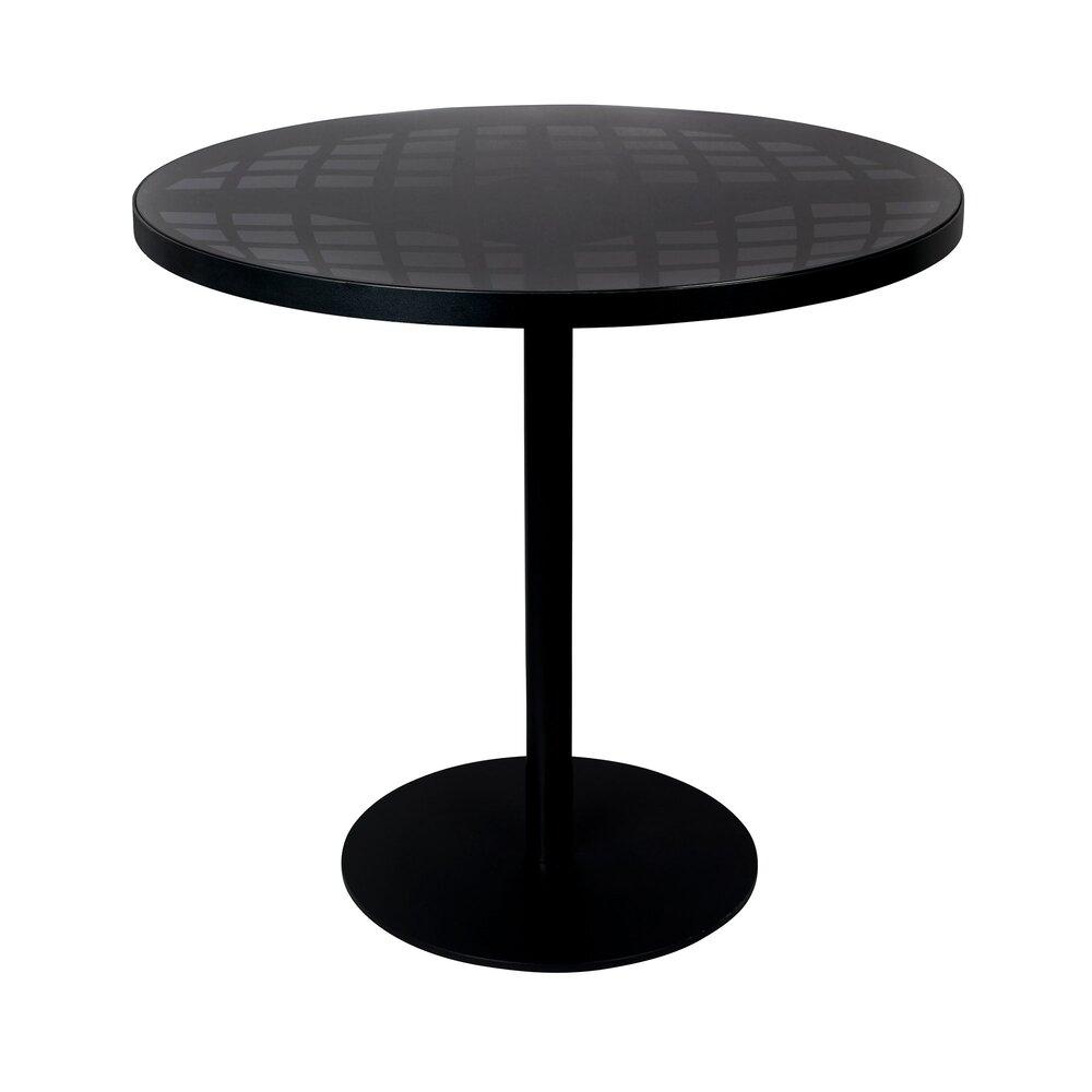 Table de jardin ronde 6x6 cm en verre et aluminium noir