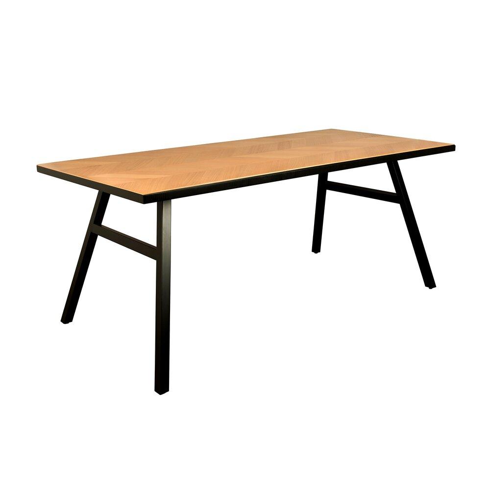 Table - Table à manger 180x90x75 cm naturel et noir - SETH photo 1