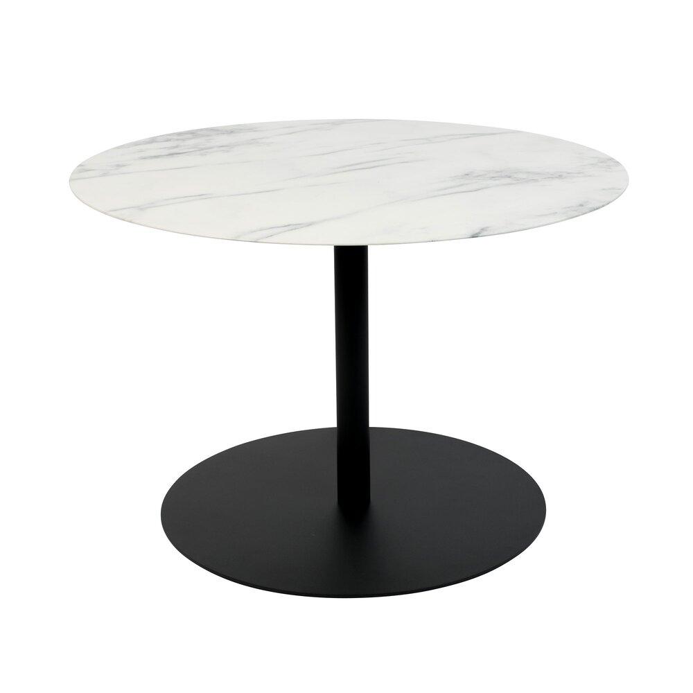Table basse - Table basse ronde 60x40 cm en marbre acier noir - SNOW photo 1