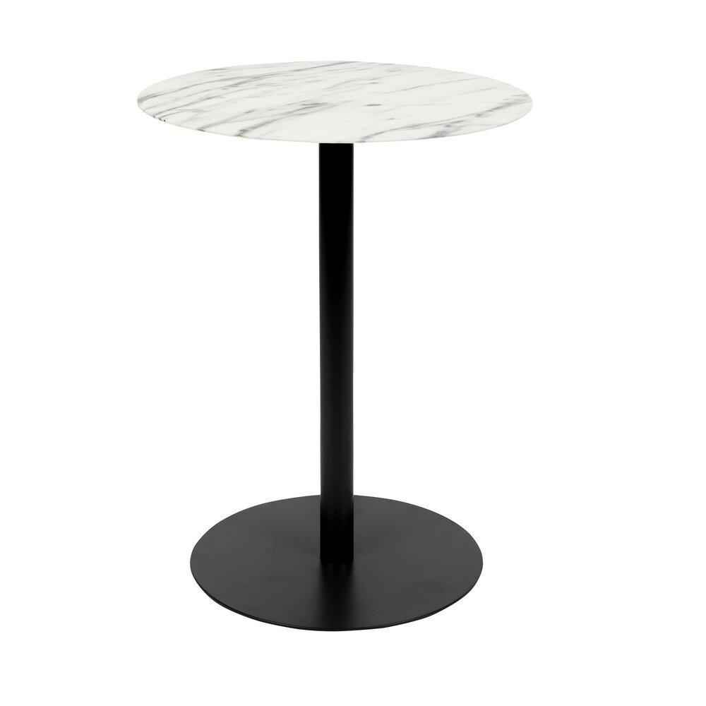 Table basse - Table d'appoint ronde 35x45 cm en marbre et acier noir - SNOW photo 1