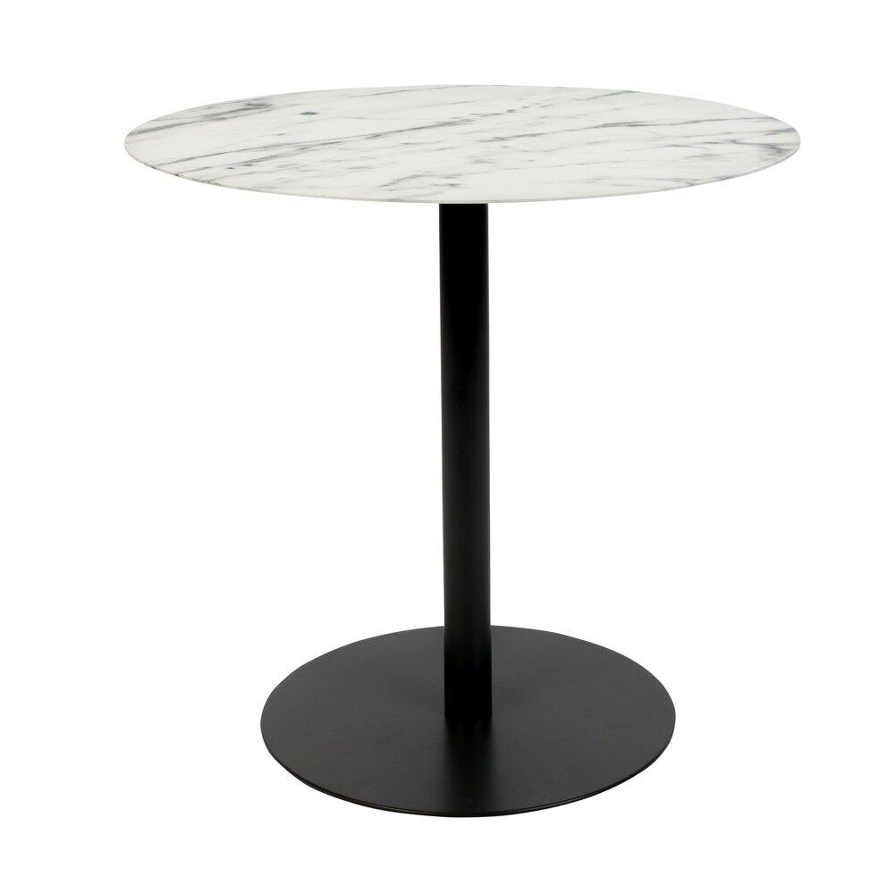 Table basse - Table basse 42x31x40 cm en marbre et acier noir - SNOW photo 1