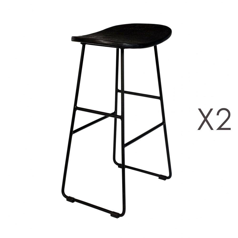 Tabouret de bar - Lot de 2 tabourets de bar en teck noir et acier - STOOL photo 1
