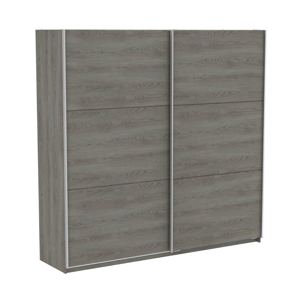 Armoire - Armoire 2 portes coulissantes 229x65x224 cm chêne grisé - KELYS photo 1