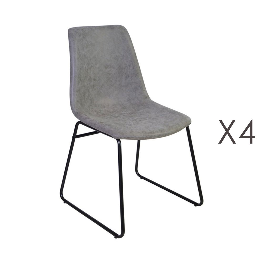 Chaise - Lot de 4 chaises de repas 50,5x50x84,5 cm en PU gris - PALMY photo 1