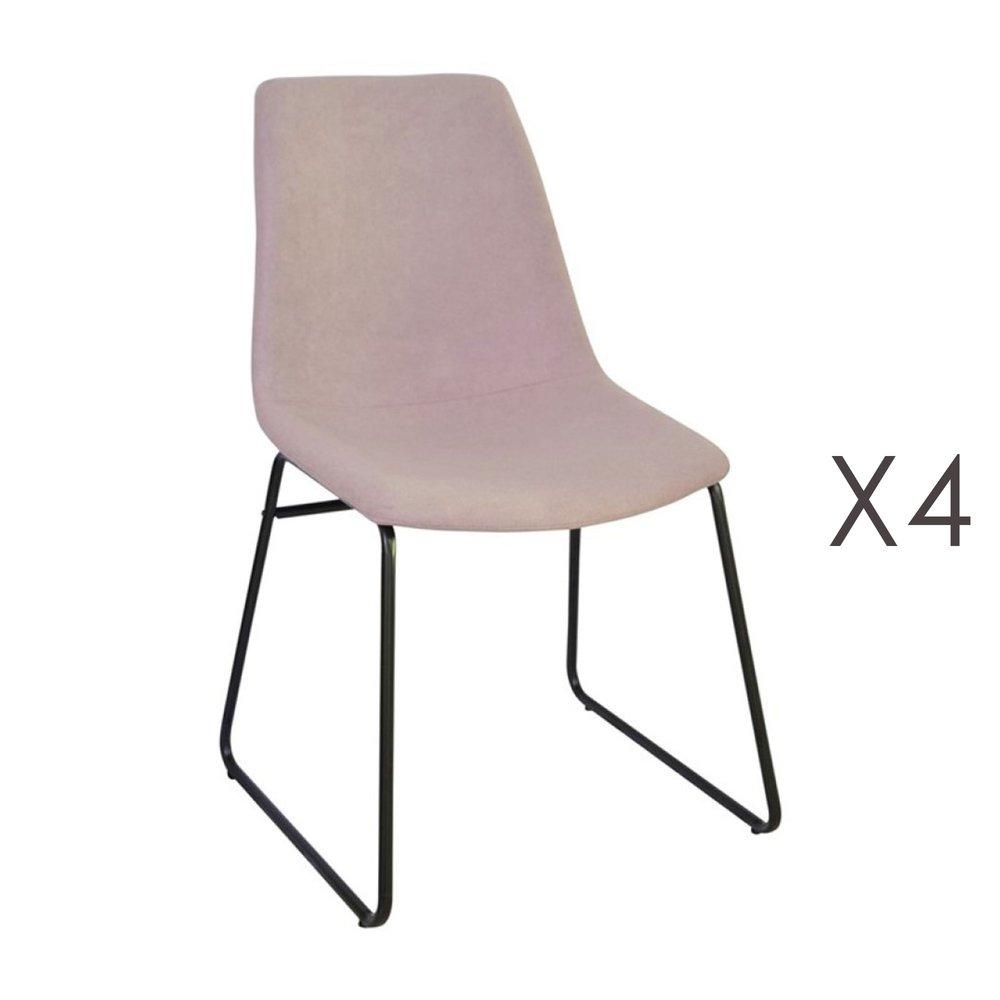 Chaise - Lot de 4 chaises de repas 50,5x50x84,5 cm en tissu rose - PALMY photo 1