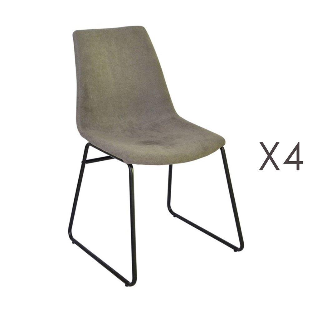 Chaise - Lot de 4 chaises de repas 50,5x50x84,5 cm en tissu taupe - PALMY photo 1