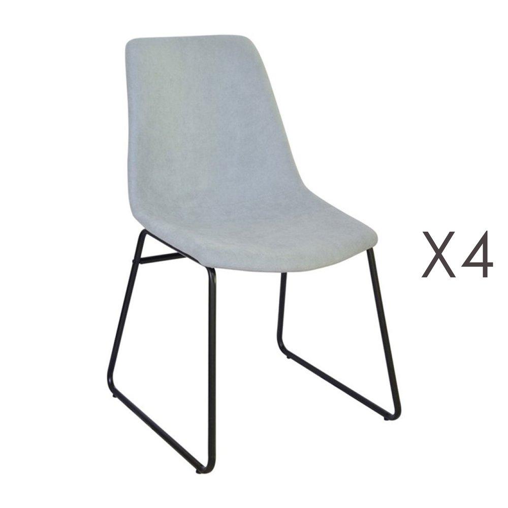 Chaise - Lot de 4 chaises de repas 50,5x50x84,5 cm en tissu vert clair - PALMY photo 1