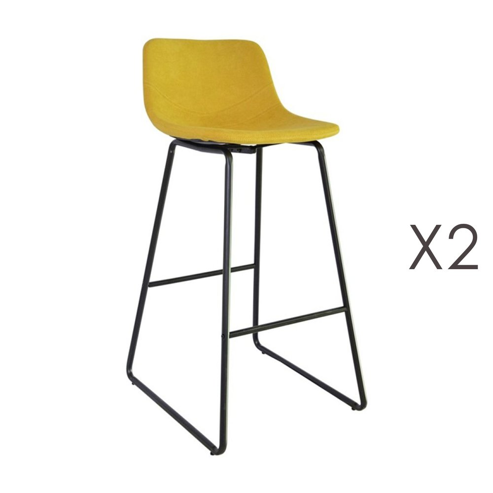Tabouret de bar - Lot de 2 tabourets de bar 55,5x45,6x99 cm en tissu jaune - PALMY photo 1