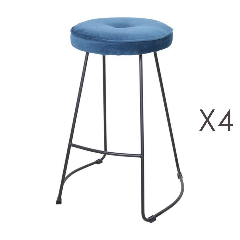 Tabouret de bar - Lot de 4 tabourets de bar 45x50x68 cm en tissu bleu - TROGEN photo 1