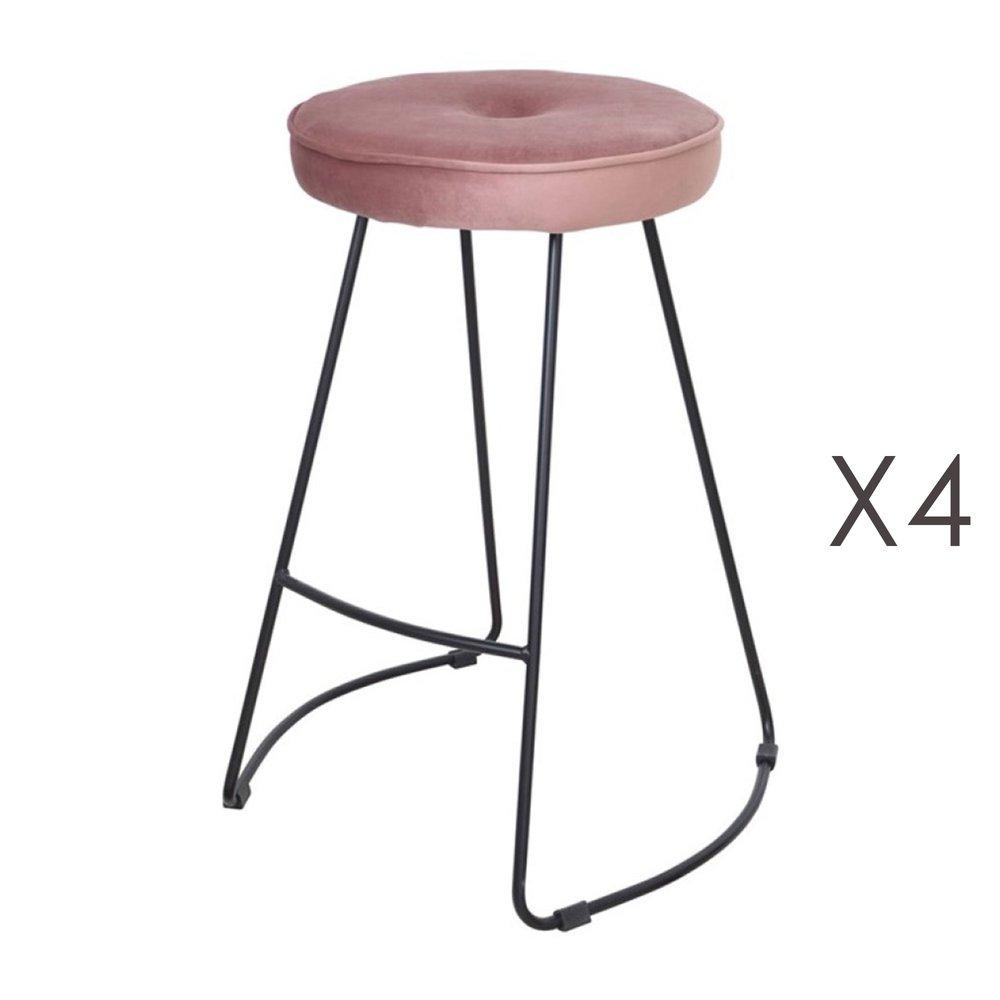 Tabouret de bar - Lot de 4 tabourets de bar 45x50x68 cm en velours rose - TROGEN photo 1