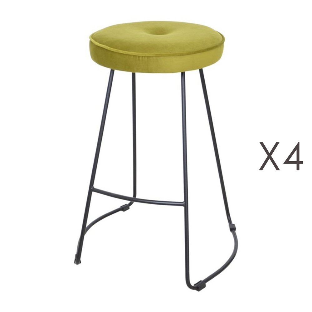 Tabouret de bar - Lot de 4 tabourets de bar 45x50x68 cm en velours vert - TROGEN photo 1
