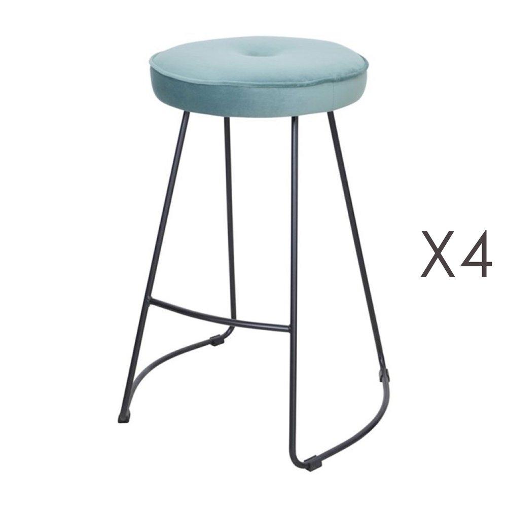 Tabouret de bar - Lot de 4 tabourets de bar 45x50x68 cm en velours vert eau - TROGEN photo 1