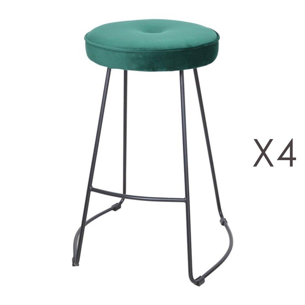 Tabouret de bar - Lot de 4 tabourets de bar 45x50x68 cm en velours vert foncé - TROGEN photo 1
