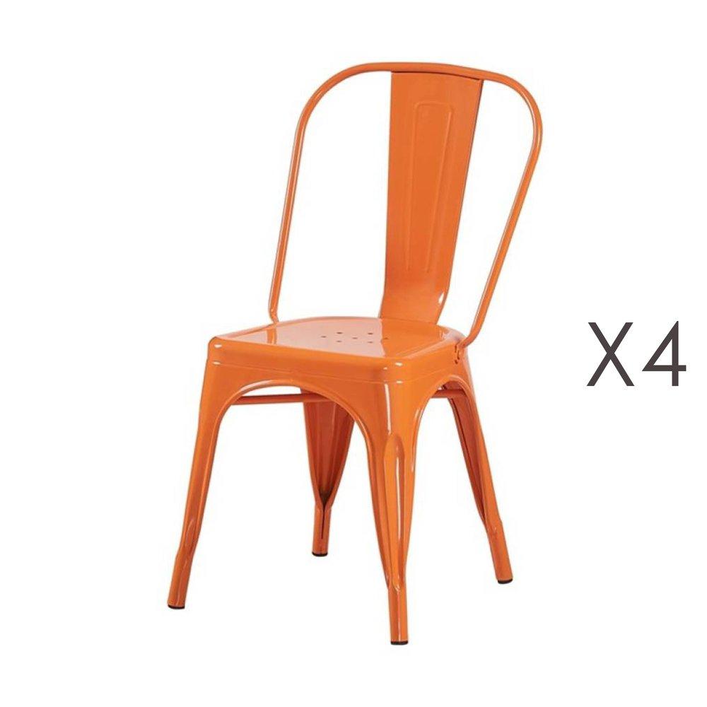 Chaise - Lot de 4 chaises 35x35x84 cm en métal orange - ARTY photo 1