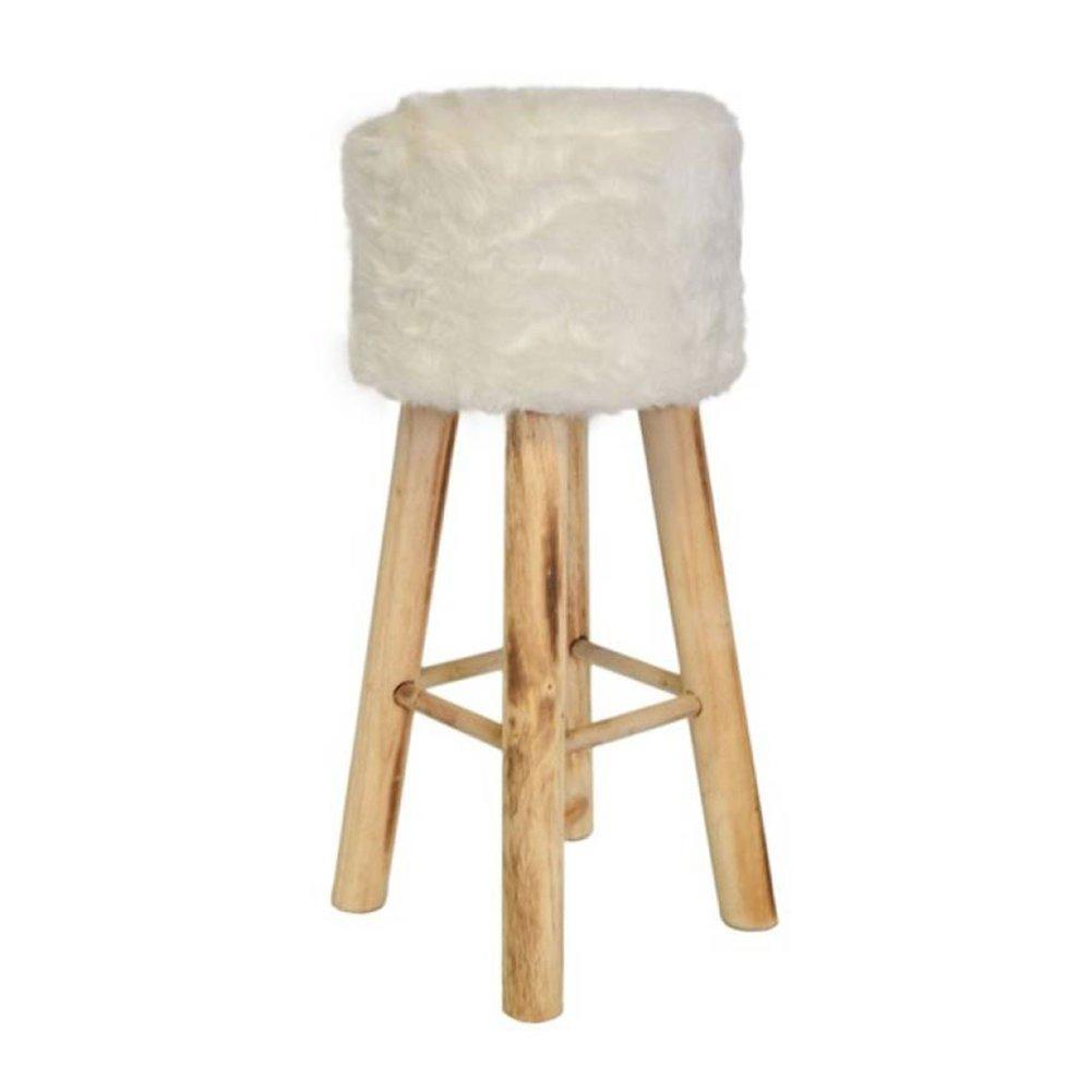 Tabouret - Tabouret de bar imitation fourrure 30x30x68 cm blanc photo 1