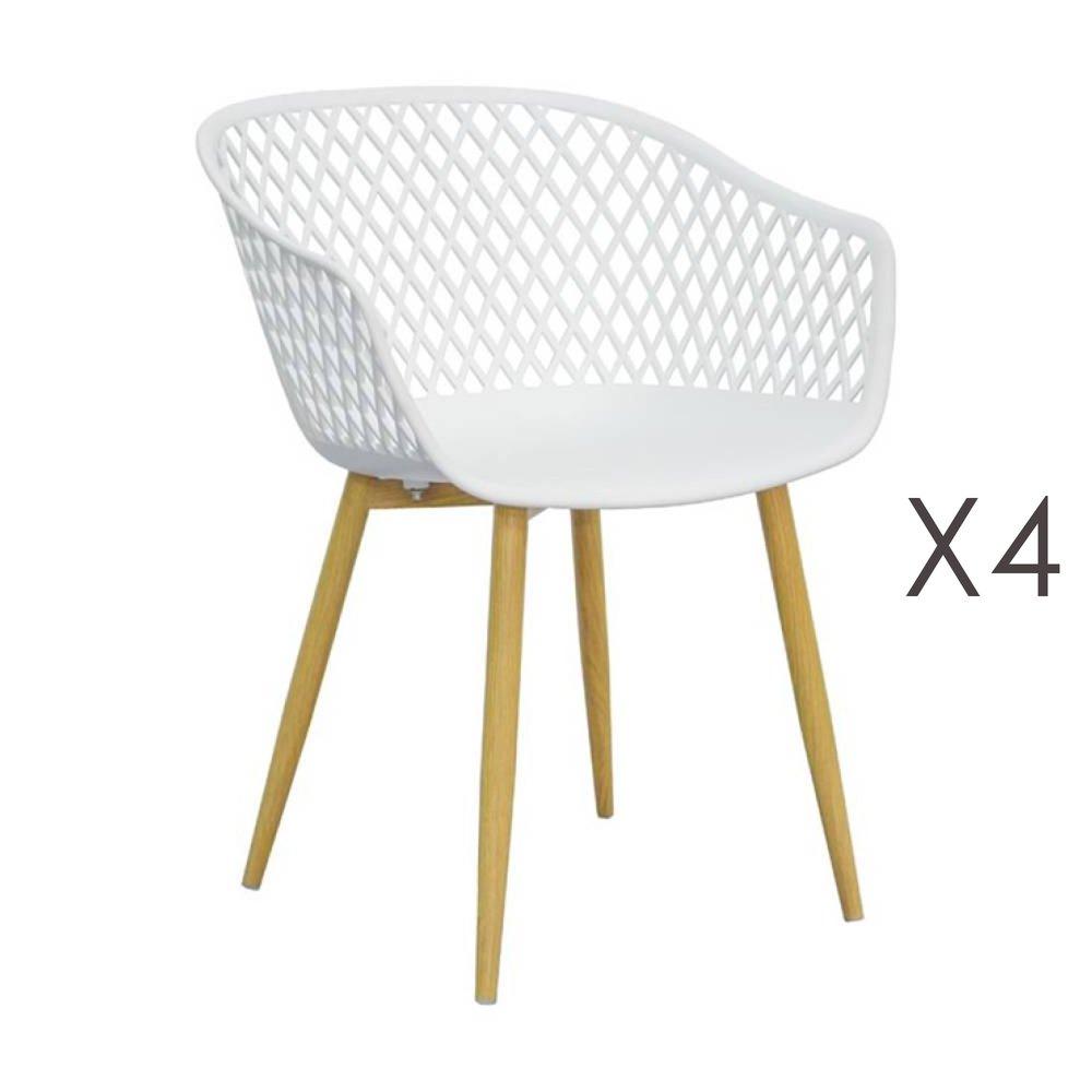 Chaise - Lot de 4 fauteuils 61x56x78 cm blanc et pieds naturels - SALMA photo 1