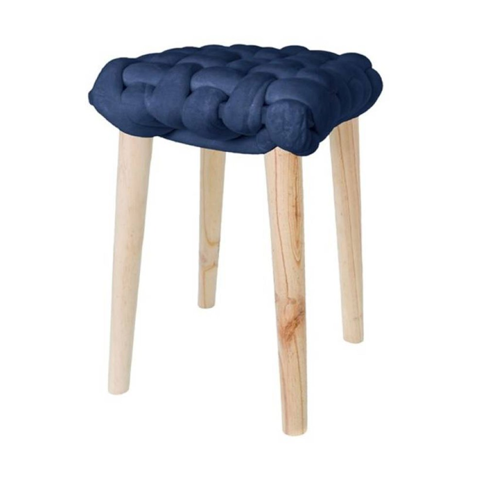 Tabouret - Tabouret 32x32x43 cm en noeud velours bleu - BRAIDY photo 1
