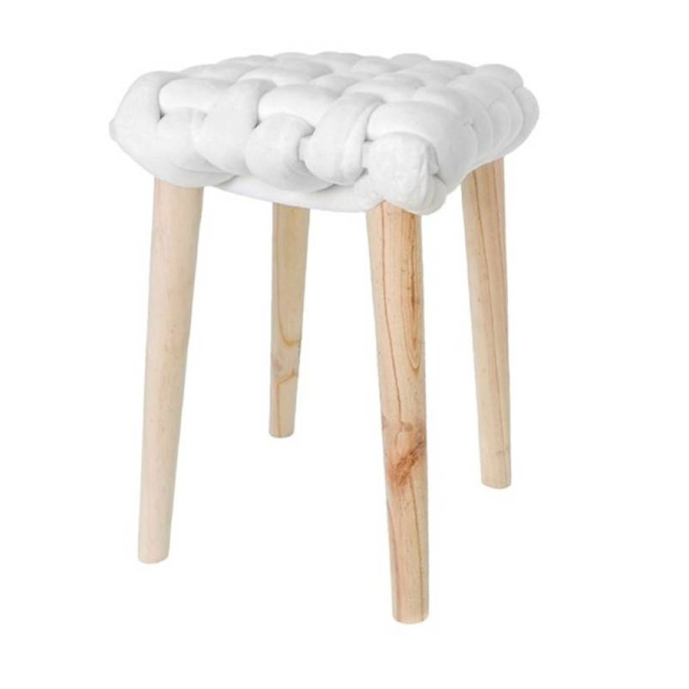 Tabouret - Tabouret 32x32x43 cm en noeud velours blanc - BRAIDY photo 1