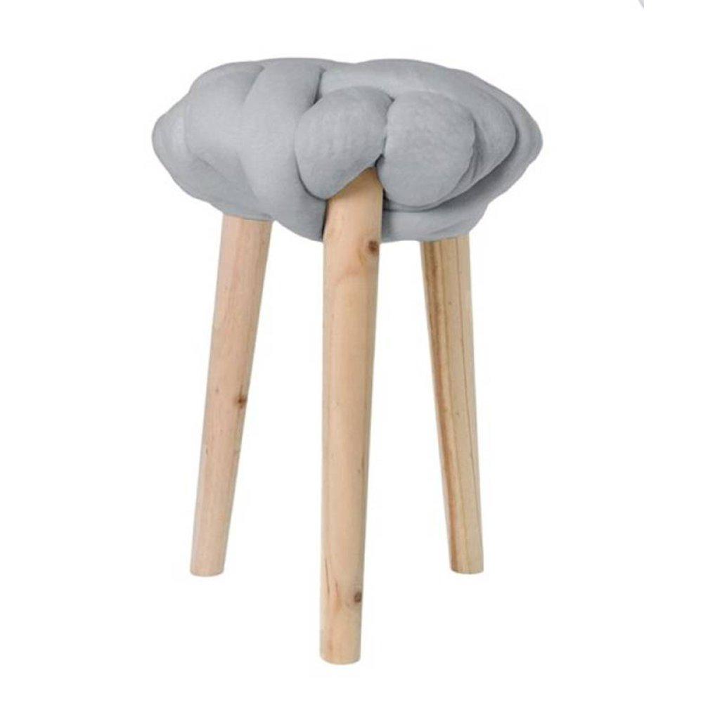 Tabouret - Tabouret 30x30x44 cm en noeud velours gris - BRAIDY photo 1