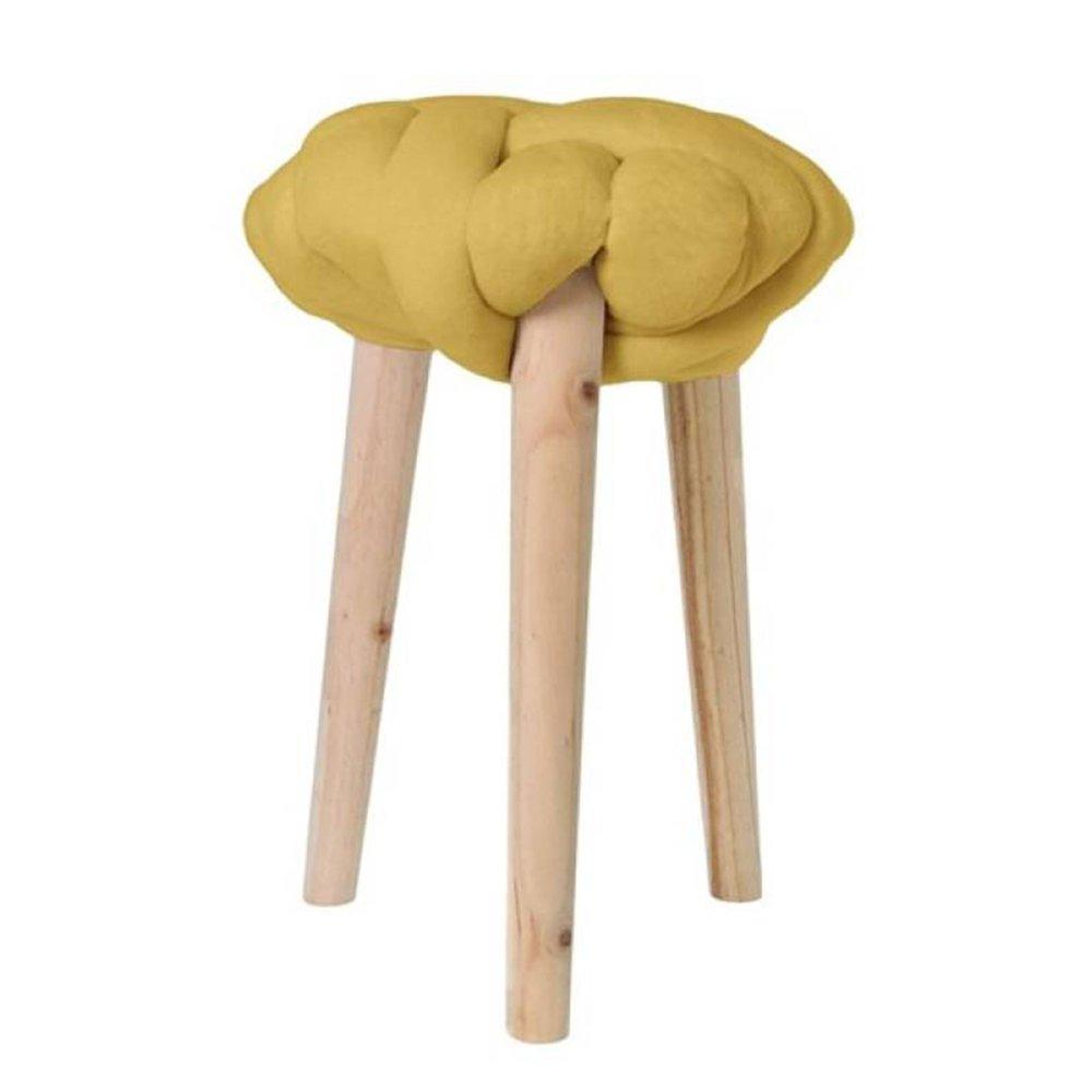 Tabouret - Tabouret 30x30x44 cm en noeud velours jaune - BRAIDY photo 1