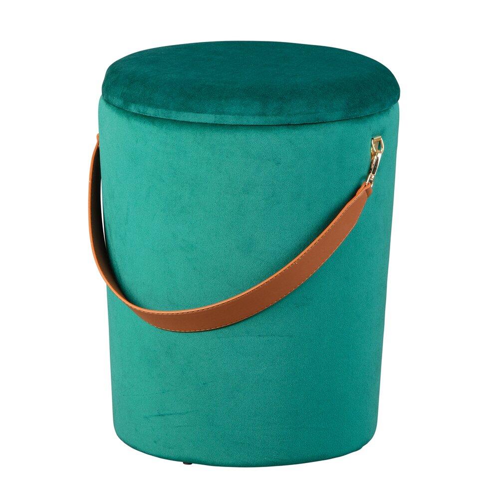 Pouf - Pouf avec rangement 35x35x45 cm en velours vert - DILIA photo 1