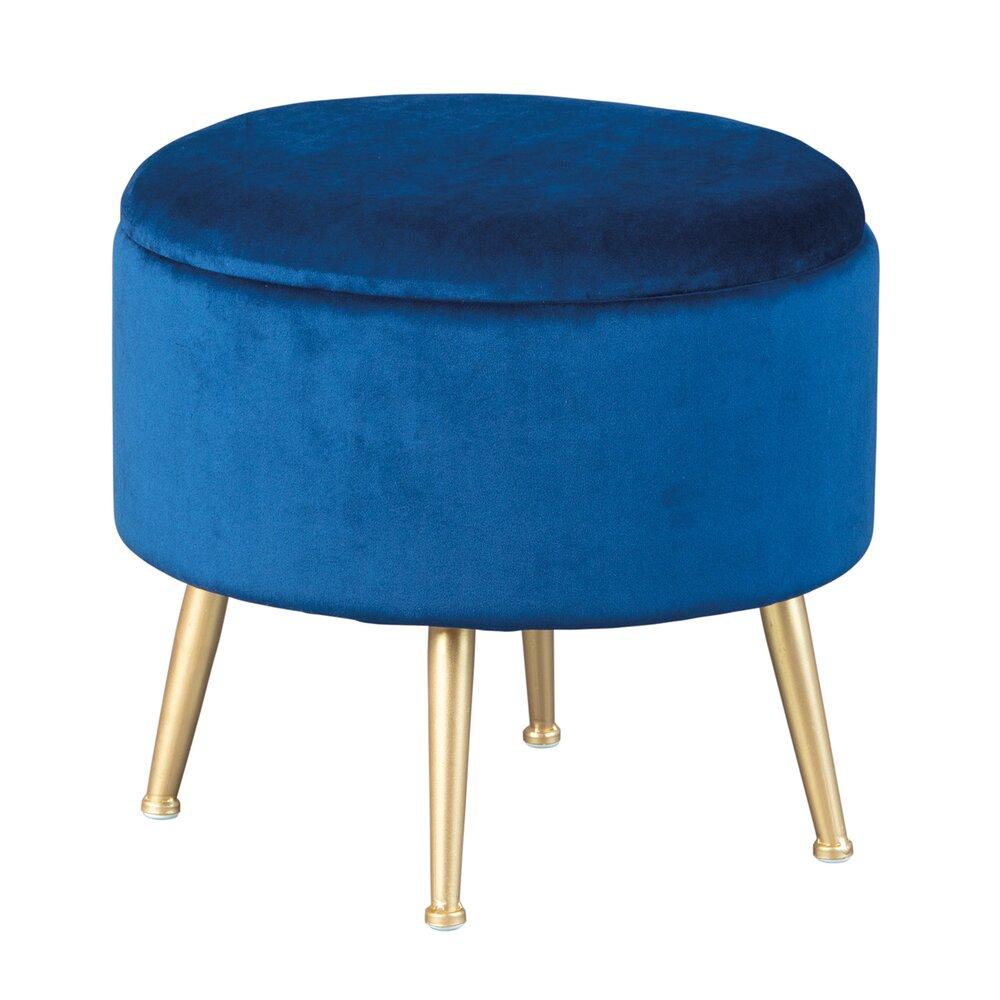 Pouf - Pouf avec rangement 41x41x38 cm en velours bleu - DILIA photo 1