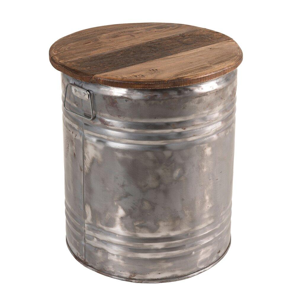 Tabouret - Tabouret 42x42x49 cm en bois recyclé et métal - ALMON photo 1