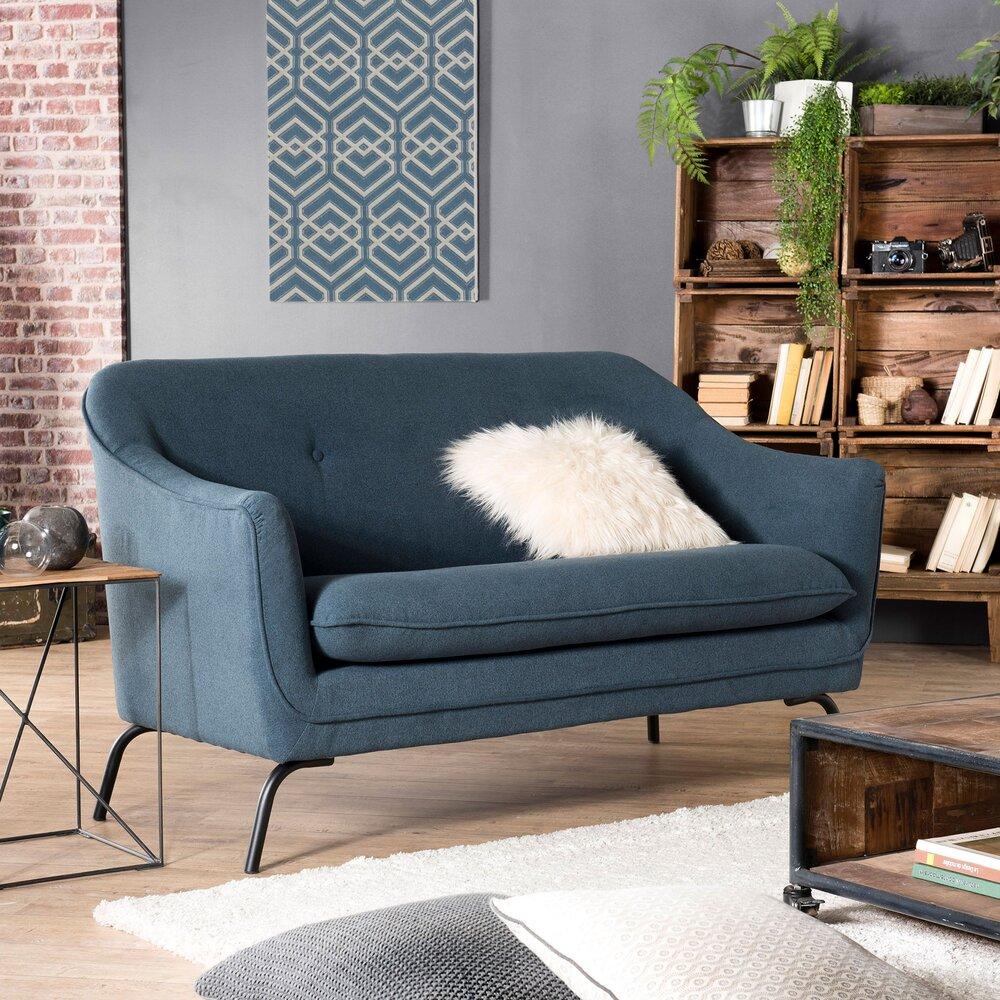 Canapé - Canapé 2 places 149x74x84 cm en tissu bleu photo 1