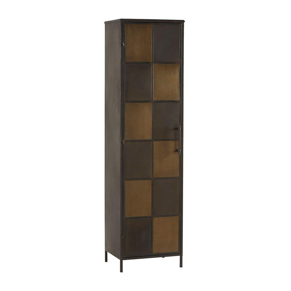 Armoire - Armoire à damier 46x40x170 cm en métal marron et noir photo 1