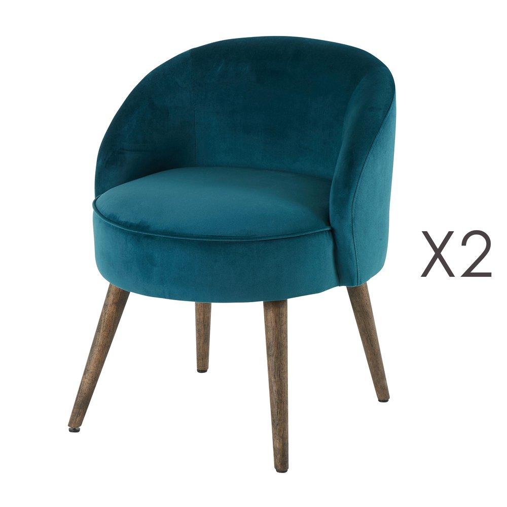 Fauteuil - Lot de 2 fauteuils 54x54x64 cm en velours bleu canard - HONY photo 1
