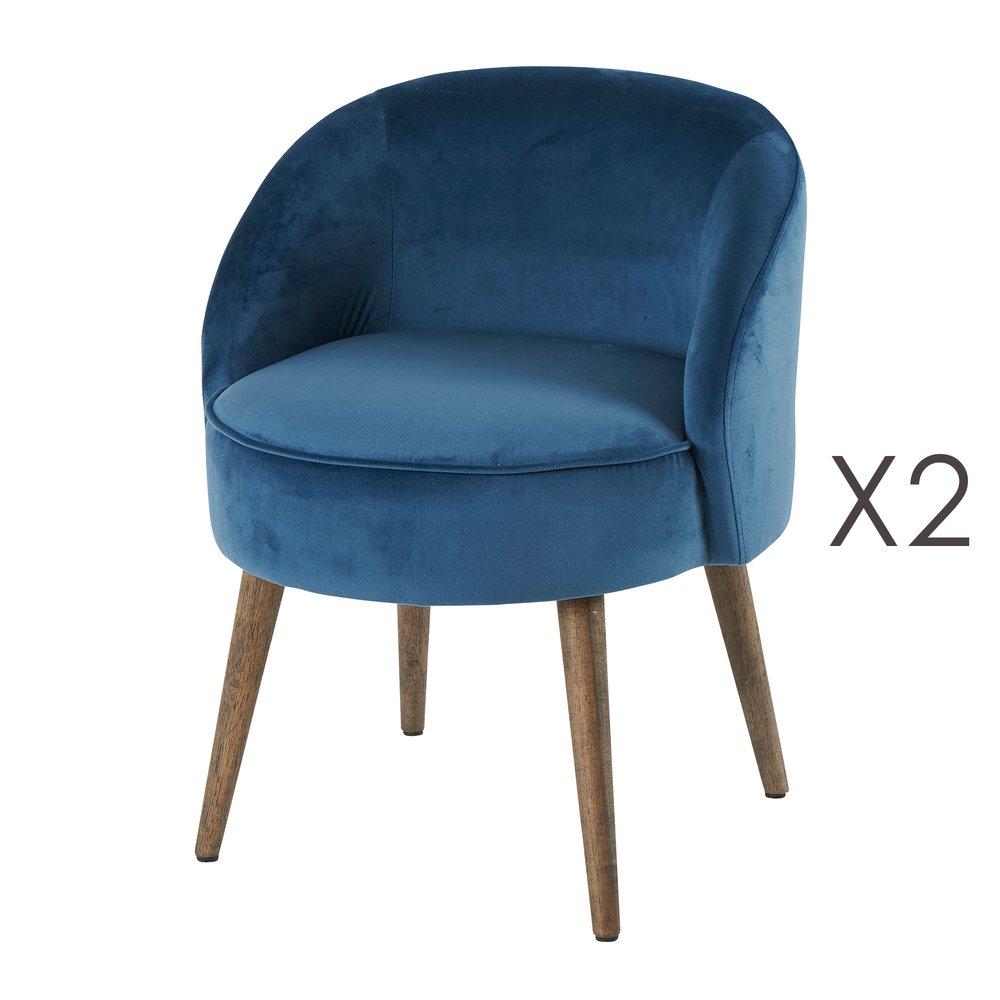 Fauteuil - Lot de 2 fauteuils 54x54x64 cm en velours bleu - HONY photo 1