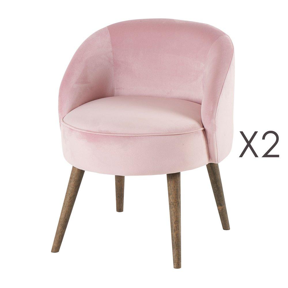 Fauteuil - Lot de 2 fauteuils 54x54x64 cm en velours rose - HONY photo 1