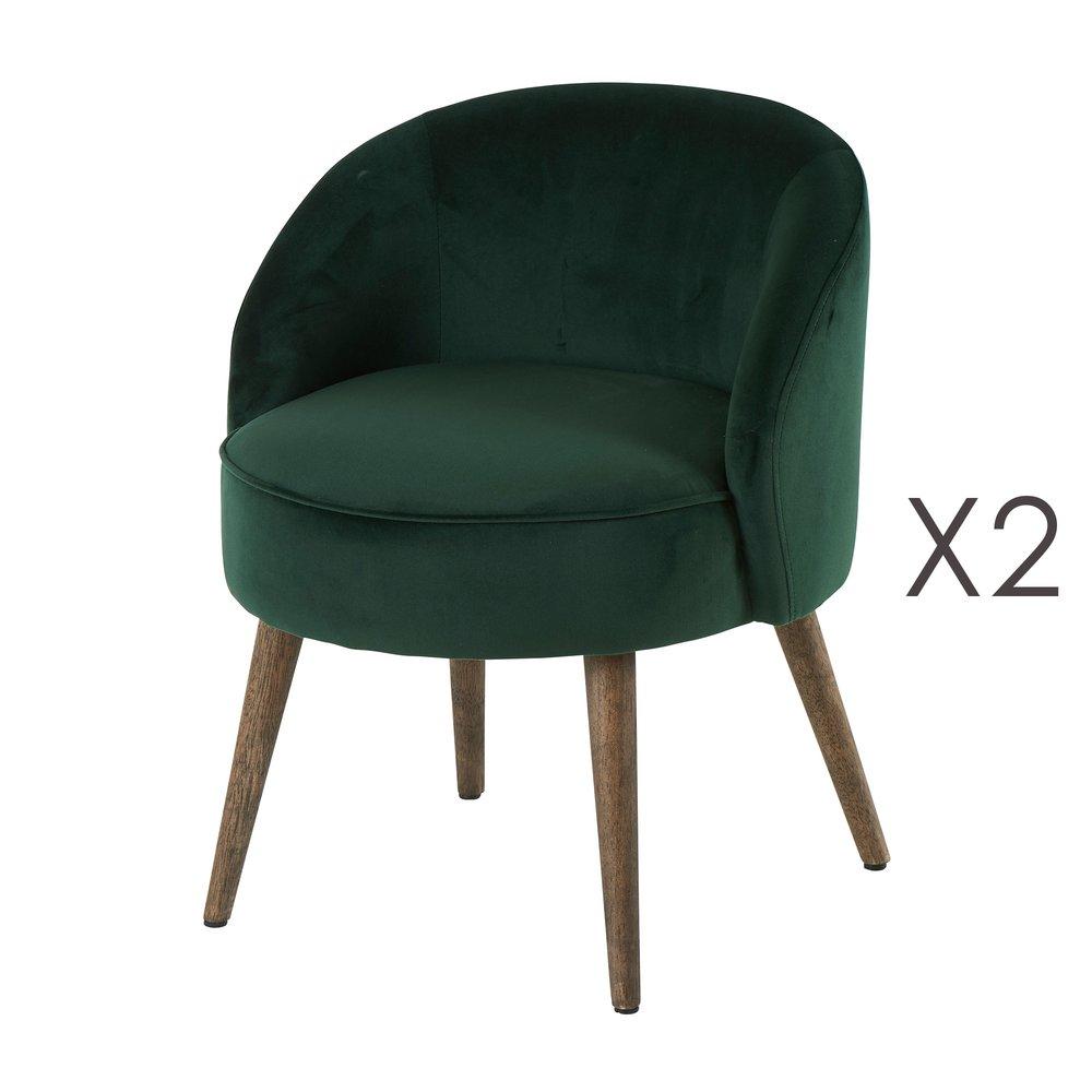 Fauteuil - Lot de 2 fauteuils 54x54x64 cm en velours vert - HONY photo 1